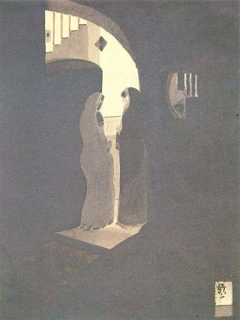Meeting at the staircase - a painting by Gaganendranath Tagore