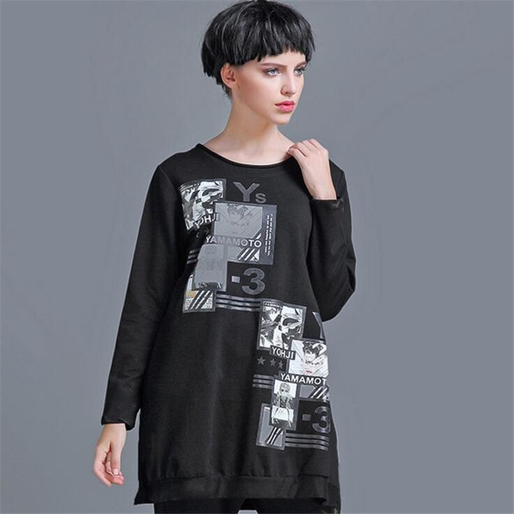 Find More T-Shirts Information about New T Shirt Women Fashion European retro fashion autumn big size women loose letters printed T shirt Plus Size Tshirt Black Tees,High Quality tshirt discount,China t-shirt couple Suppliers, Cheap tshirt soccer from FASHION ZXZ on Aliexpress.com
