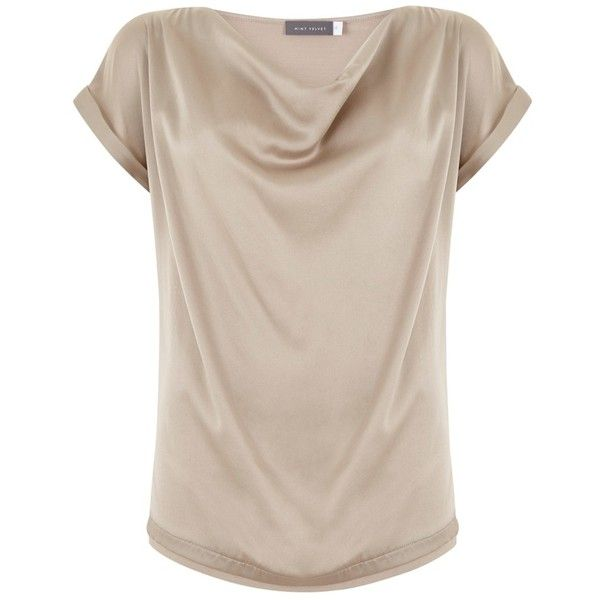 Mint Velvet Satin Slouch T-Shirt , Neutral ($72) ❤ liked on Polyvore featuring tops, t-shirts, neutral, short sleeve tops, pink t shirt, relax t shirt, sleeve t shirt and metallic tops