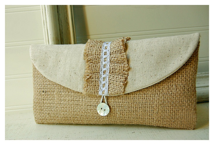 burlap clutch purse lace ruffles wedding rustic raw by hoganfe, $19.00