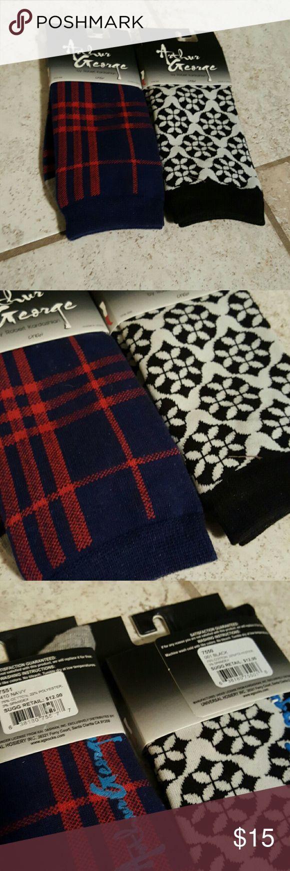 Arthur George sock bundle Set of two pairs of new Arthur George crew socks. One size. 75% cotton 22% polyester 3% spandex. Arthur George  Accessories Hosiery & Socks