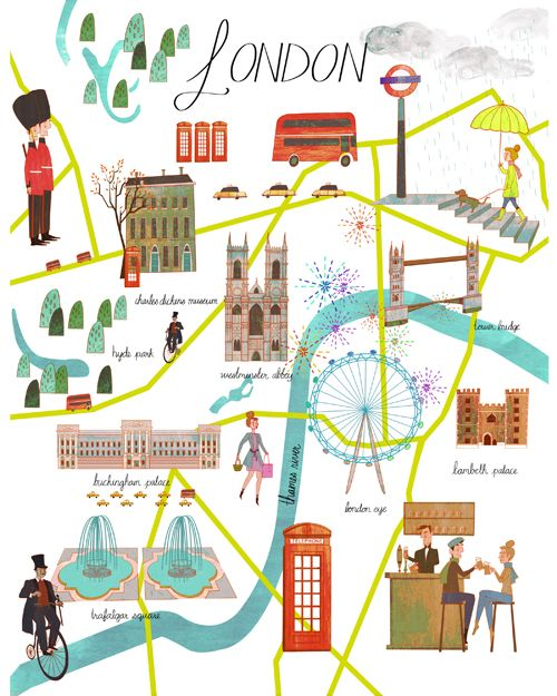 Illustrated Map of London. / Mapa ilustrado de Londres.