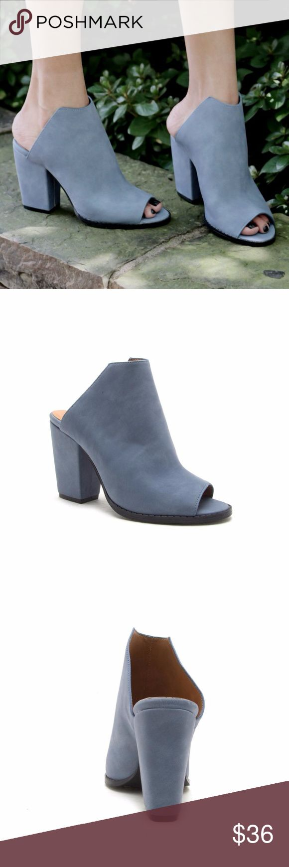 """Moon Blue Nubuck Mules COMPLETE YOUR FASHION-FORWARD LOOK IN THESE TRENDY BLOCK MULES FEATURING A FAUX LEATHER UPPER WITH A CONSTRUCTED VAMP, PEEP TOE, CHUNKY BLOCK HEEL AND AN OPEN BACK. LOVE THESE WITH A DENIM MINI OR BOYFRIEND JEANS. MATERIAL: MAN-MADE, NUBUCK LEATHERETTE. SOLE: SYNTHETIC. MEASUREMENT: HEEL HEIGHT: 3.75"""" (APPROX.) TRUE TO SIZE Qupid Shoes Mules & Clogs"""