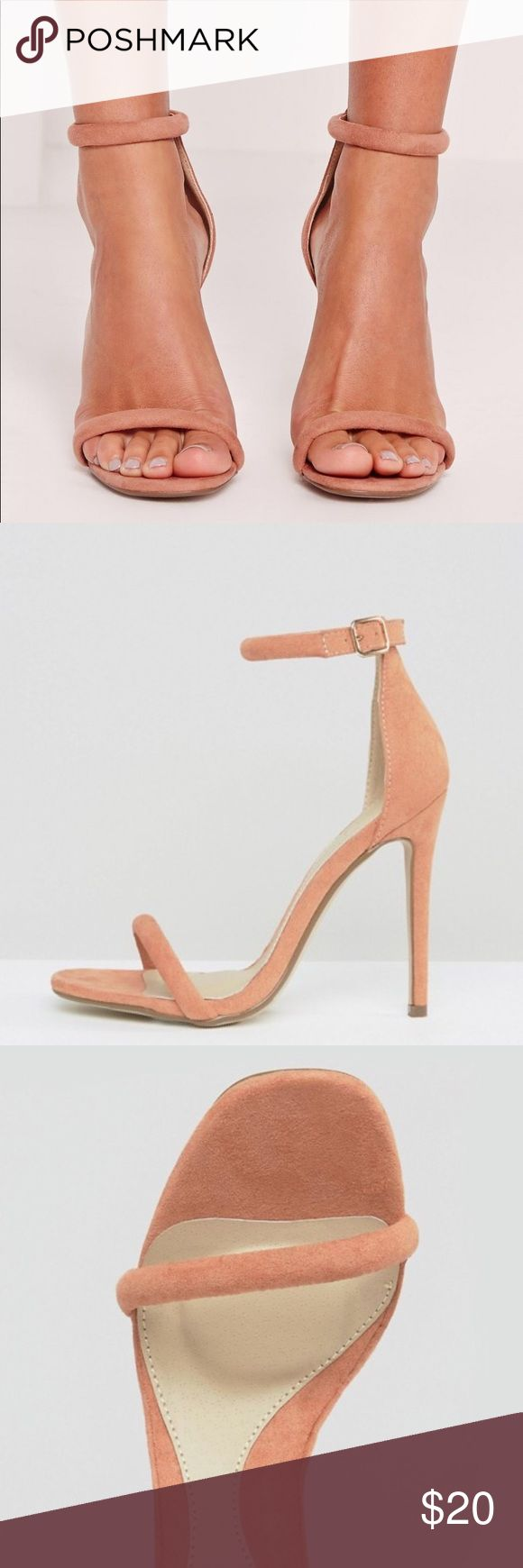 "NWT Missguided Strap Barely There Sandals Round Strap Sandals Faux Suede Approx heel height 11cm/4.5"" Blush Pink Size: US 7/ UK 5/ Europe 38 Missguided Shoes Heels"