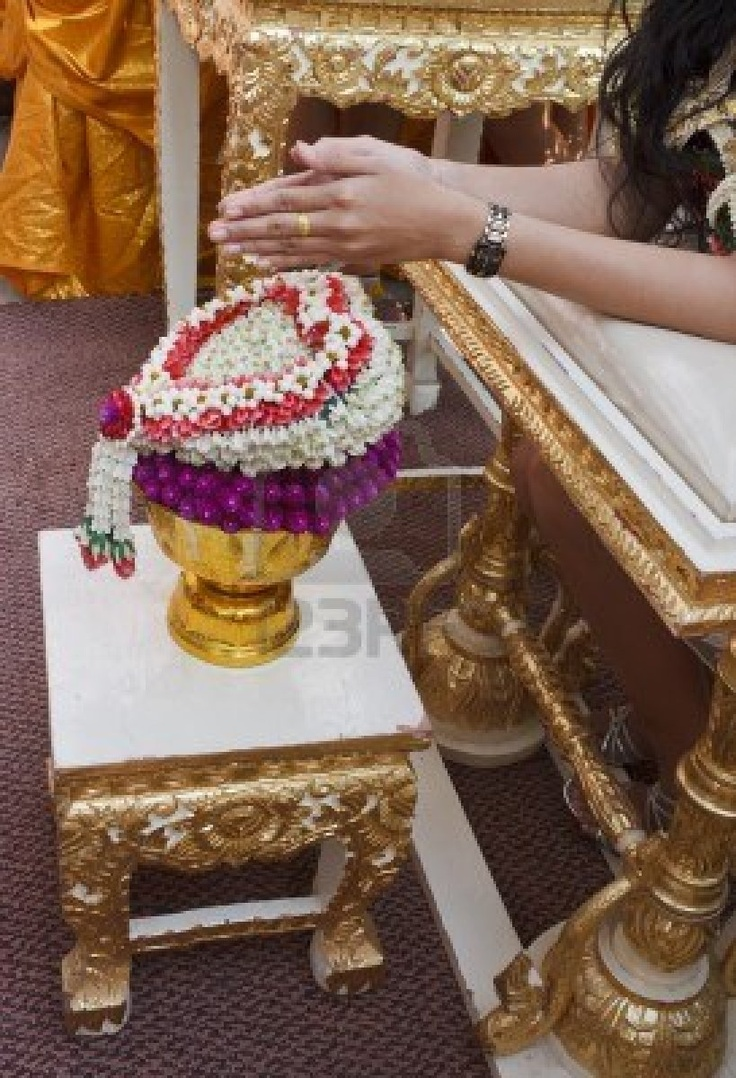 Hand Of Bride Wait For Blessed Water At Thai Wedding