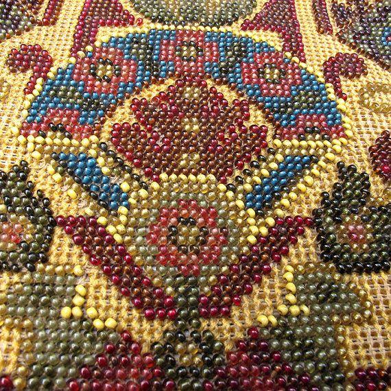 Vintage Beadwork Panel Craft Supplies Vintage Home by OldTextiles