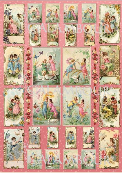CAL 288 - Calambour Paper for classic Decoupage. Pattern : Victorian fairies with pink, white and blue flowers, colourful butterflies, pink background. Details: measures 50 x 70 cm, printing on 80 gr/mq paper sheet