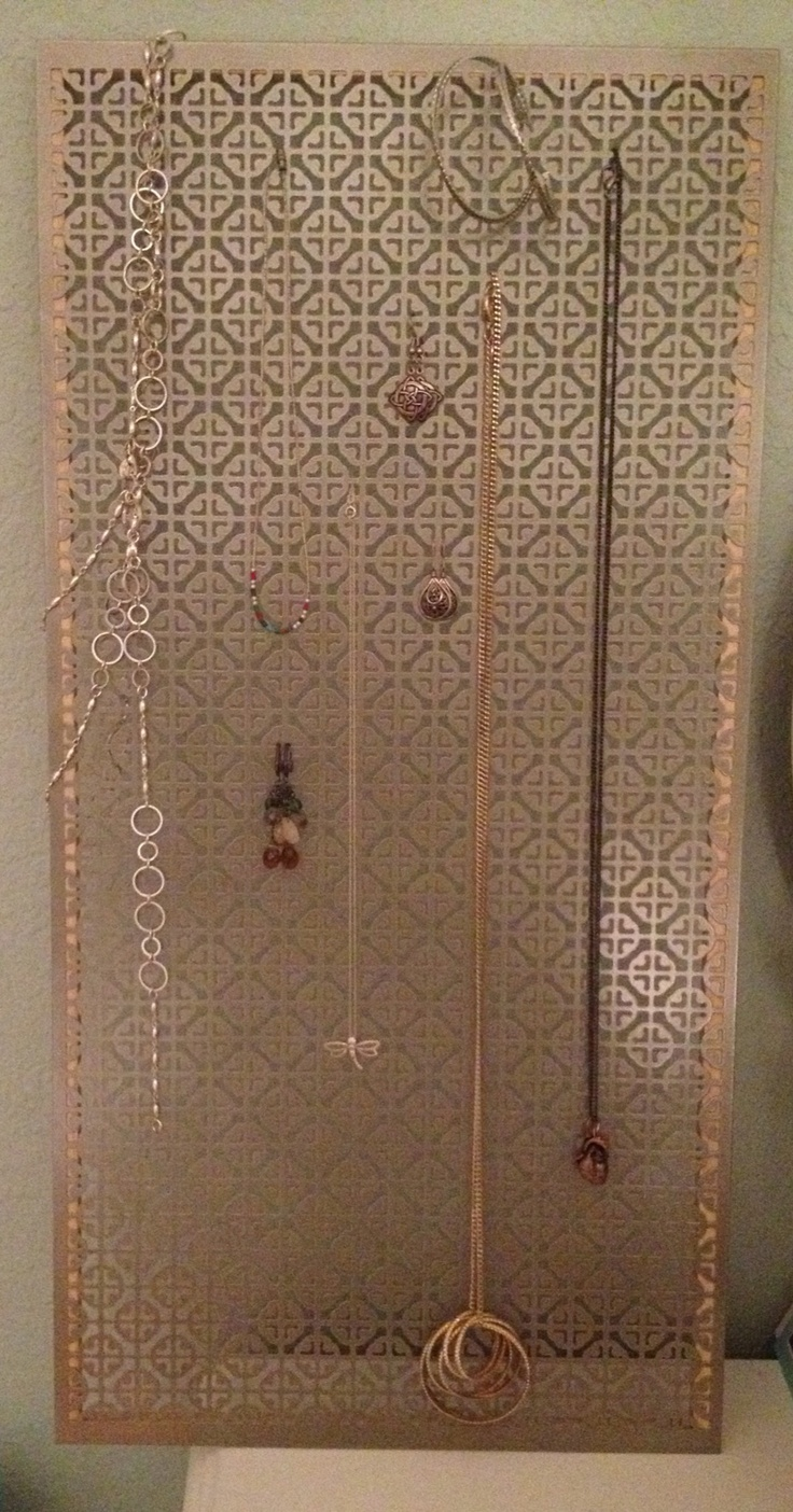 jewelry holder made from decorative metal sheet from home. Black Bedroom Furniture Sets. Home Design Ideas