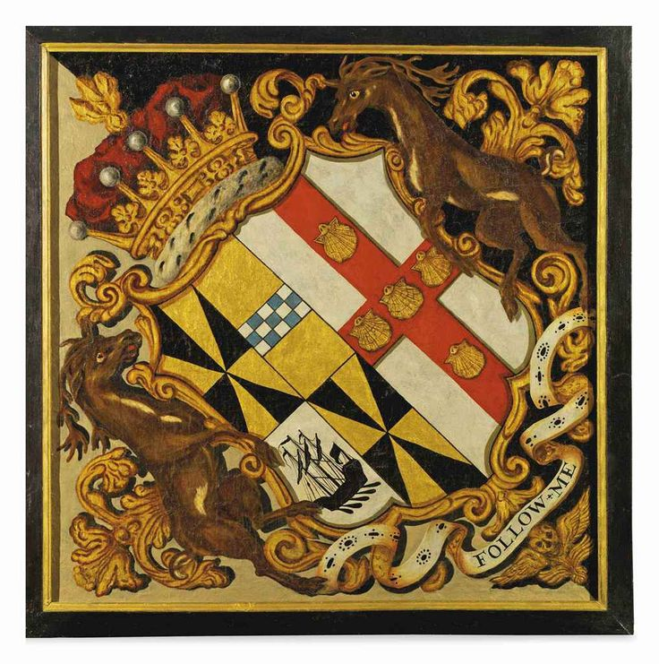 A PAINTED CANVAS HATCHMENT WITH THE ARMS OF JOHN CAMPBELL, 2ND EARL OF BREADALBANE AND HIS SECOND WIFE HENRIETTA FIRST HALF 18TH CENTURY The arms of the 2nd Earl of Breadalbane impaling Villiers beneath a Countess's coronet and supported by two stags, with motto 'FOLLOW ME', restored 83½ in.high
