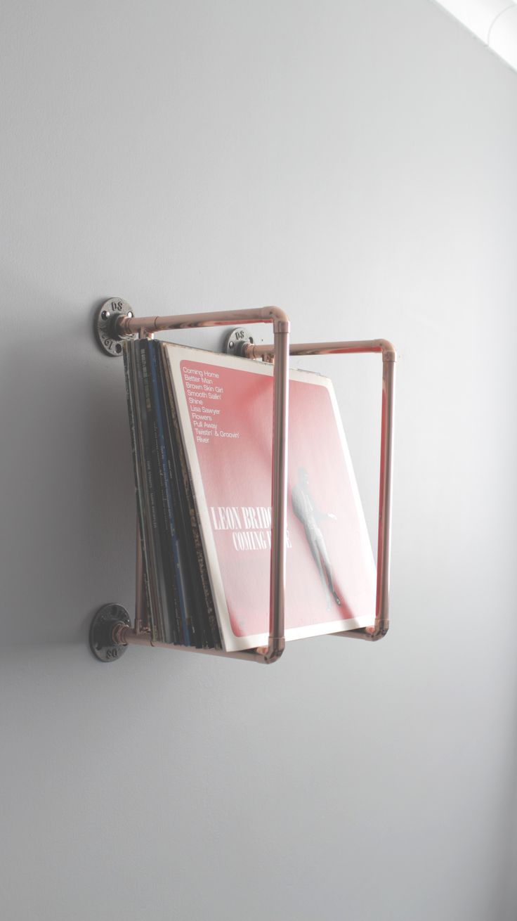 Vinyl collection holder – Handmade from copper pipe – Wall Mounted