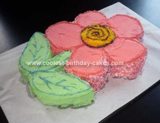 Homemade Flower Cake: This homemade flower cake is really easy - Just bake a cake in an oven tray, draw the shape of the flower required (using as much of the cake as possible);