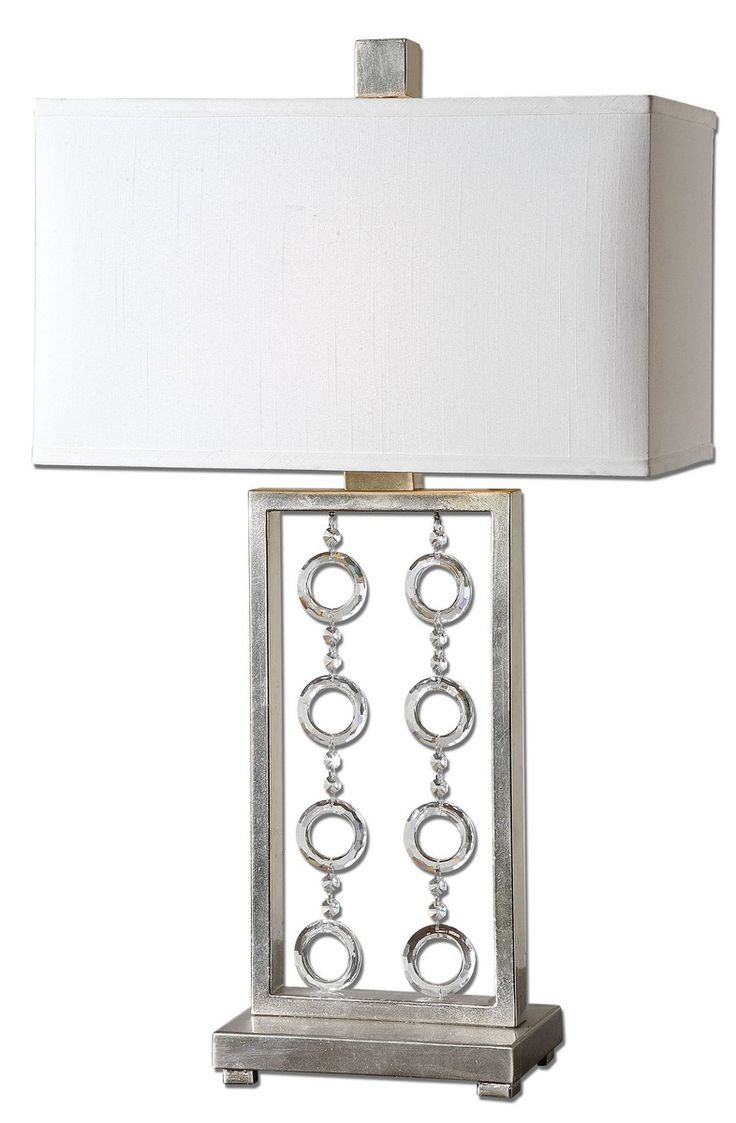 231 best antiqued accents images on pinterest acme furniture uttermost arlena crystal accent table lamp lightly antiqued silver leaf with hanging crystal accents the amipublicfo Gallery