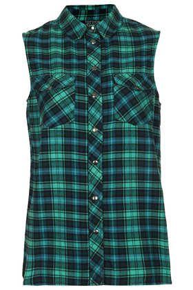 Sleeveless Jade Check Shirt