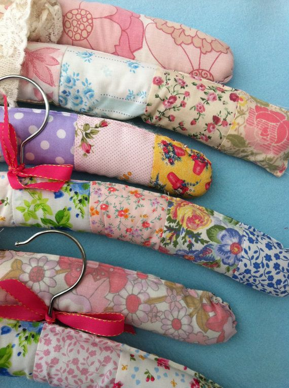 Handmade padded patchwork covered hangers by Patchworkandlace