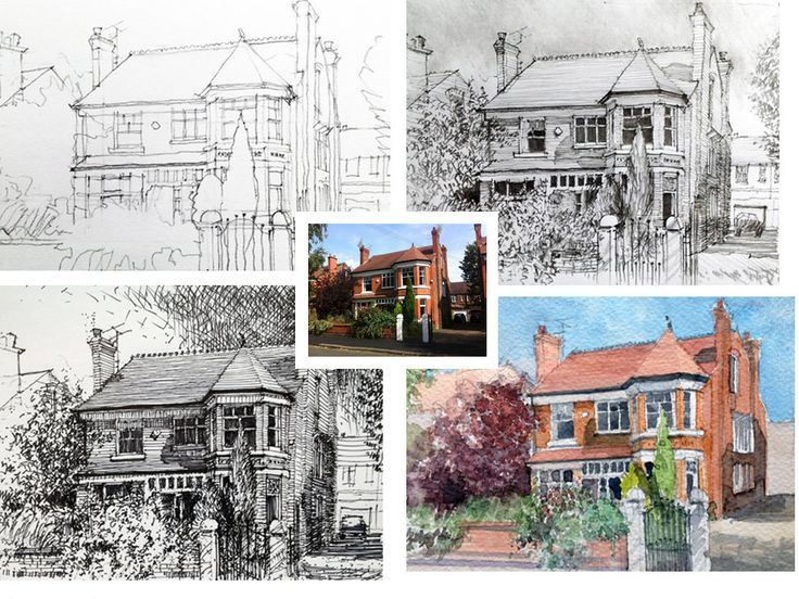 House portraits custom original pencil or pen drawings and watercolour paintings by Just Draw My House