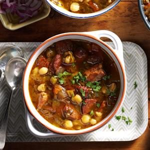 Easy Pork Posole Recipe -Looking for a meal in a bowl? Sit down to a Mexican classic full of cubed pork, sliced sausage, hominy and more. It all goes into the slow cooker, so you can come home at night to a table-ready dinner. —Greg Fontenot, The Woodlands, Texas