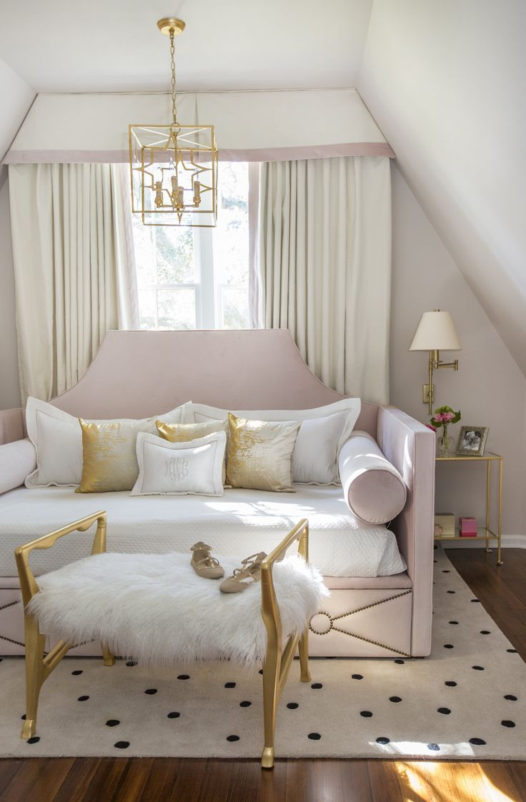 Rachel Cannon Limited Interiors | Sweet teen bedroom featuring a custom made queen-sized daybed in blush velvet.