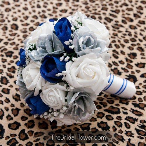 royal blue wedding bouquet | Royal blue and silver silk wedding bouquet, horizon blue bridal ...