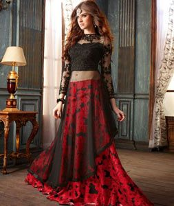 Buy Red Silk Indo Western Lehenga Choli 71050 online at best price from vast collection of Lehenga Choli and Chaniya Choli at Indianclothstore.com.