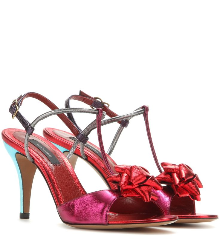 Rote Sandalen aus Metallic-Leder By Marc Jacobs