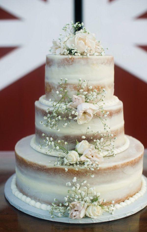 adorable white naked wedding cake ideas