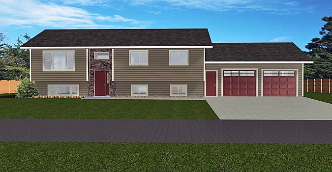 House Plan 2002108 Bi Level With 2 Car Garage By Edesignsplans Ca 1386 Sq Ft 2 Bedroom Bi Level With 2 Car Garage House Plans Garage House Brunswick House