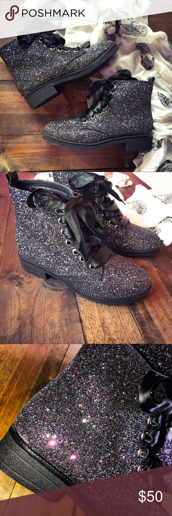 NWOT Dirty Laundry Sparkle Boots Brand New & Never Worn! These boots are super chic--I love this galaxy sparkle glitter, you will definitely stand out! Lace ties No  Dirty Laundry Shoes Ankle Boots & Booties