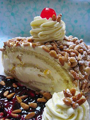 Recipe: Mandarin Pine Nut Roll Ingredients 1 recipe roulade ½ recipe vanilla pastry cream 1 ¼ cups heavy cream, slightly sweetened with powdered sugar 1 large jar mandarin segments in light syrup 2 cups pine [...]