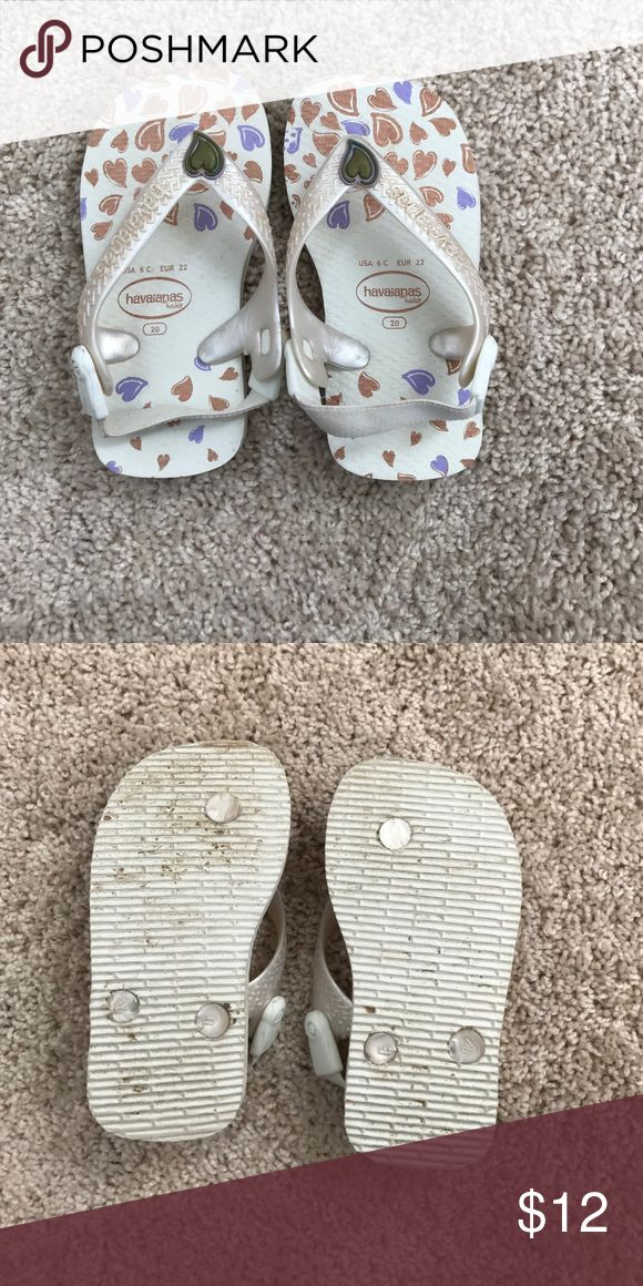 Baby Havaianas Baby flip flops white with hearts size 6 havaianas Havaianas Shoes Sandals & Flip Flops
