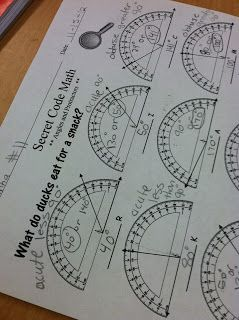 Using a fun little sheet to get the kids practicing using a protractor. Practica con el transportador.