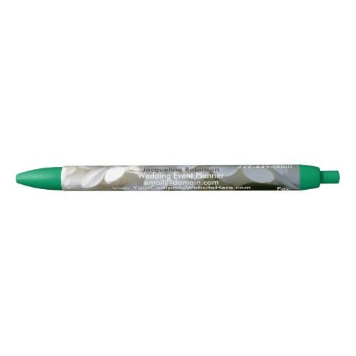 Professional Business Pens White Lime Hydrangea Petals with Black White Text.   PERSONALIZE for Wedding Planner or  other Businesses.  Choose Pen Trim & Ink Colors.  Hand out your Business Pens in addition to your Business Cards at trade shows, reception area, etc. with your Company's Name and Contact Information.  ORDER UP TO 1000 PENS (DISCOUNTS START with 6 or More).  See store for current pricing details.  Original Photography Graphic Design by TamiraZDesigns…
