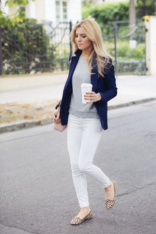 Navy, grey and white outfit with a blush crossbody bag and leopard flats