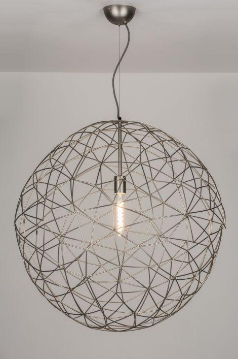 Geschikt voor LED . 76 cm ook in 45 en 35 cm .. Een grote dosis transparantie gevangen in een subtiel vormgegeven hanglamp! Deze hanglamp valt onder de categorie draadbollen/ draadlampen . Voor hoge ruimte , vide , hal , woonkamer , bedrijf . Home interior lights / ONLINE SHOP : click on this LINK ( www.rietveldlicht.nl ) Verzendkosten gratis .
