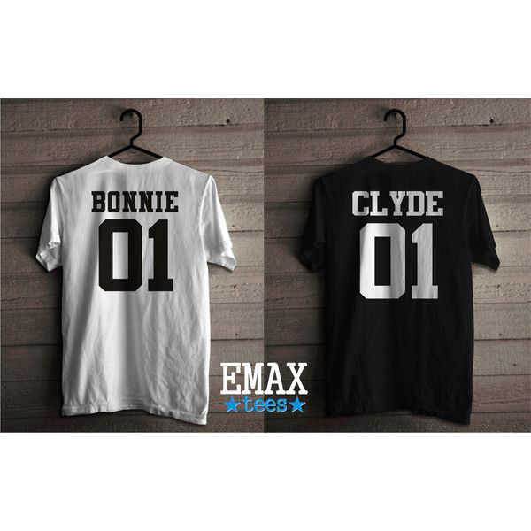 Bonnie Clyde T Shirts, Couples Tshirts Bonnie and Clyde, Unisex Soft... (97 PEN) ❤ liked on Polyvore featuring tops, t-shirts, unisex tops, unisex tees, unisex t shirts, cotton t shirts and cotton tees