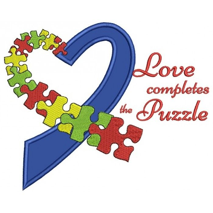 Love Completes The Puzzle Autism Awareness Heart Applique Machine Embroidery Design Digitized Pattern