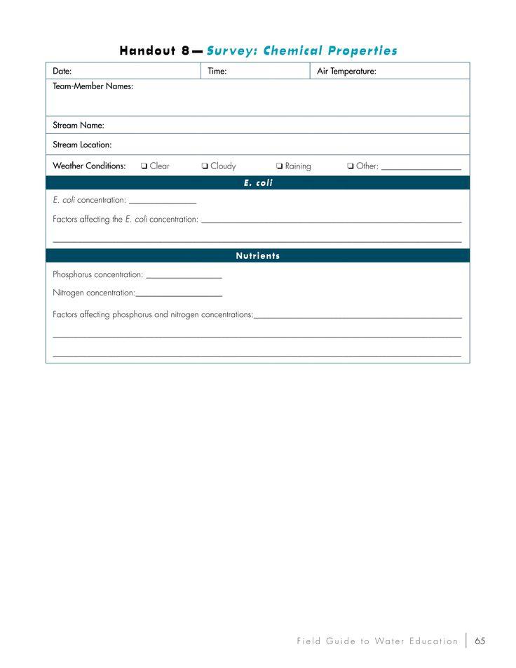 Survey Chemical Properties Student Handout  Teachers