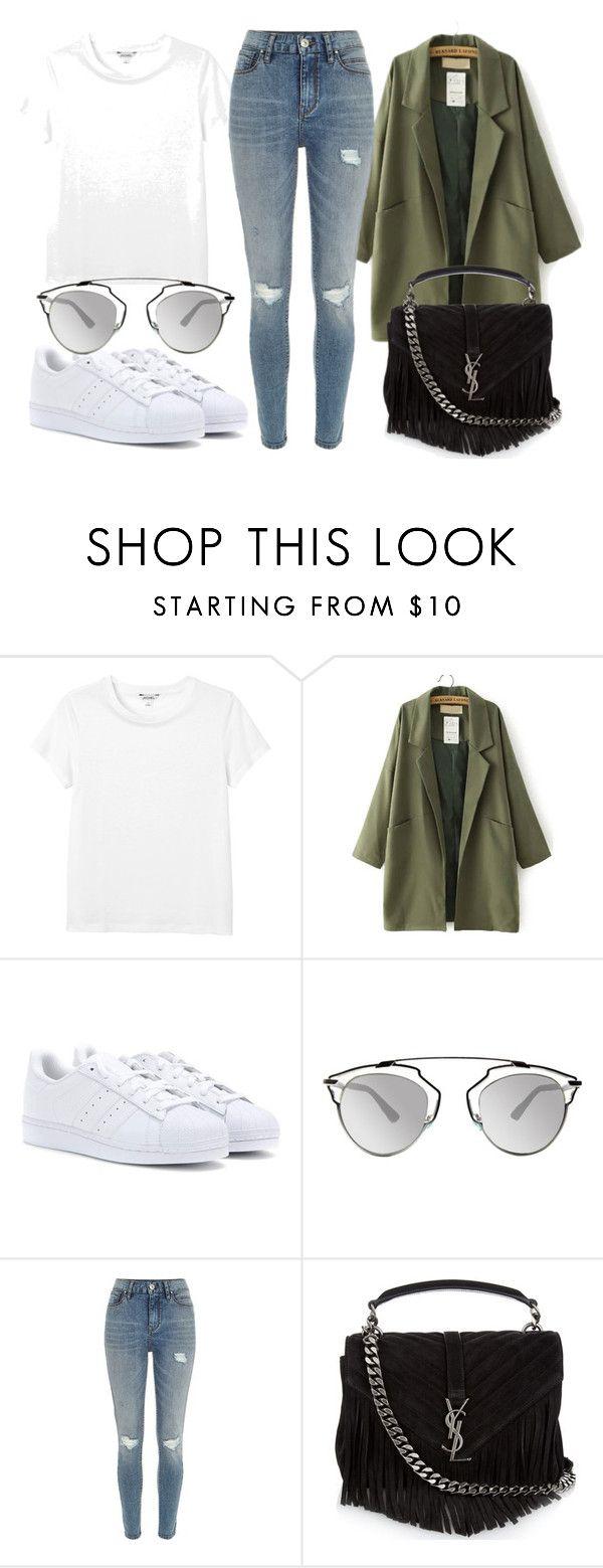 """Sem título #3028"" by beatrizvilar on Polyvore featuring moda, Monki, adidas Originals, Christian Dior, River Island e Yves Saint Laurent"