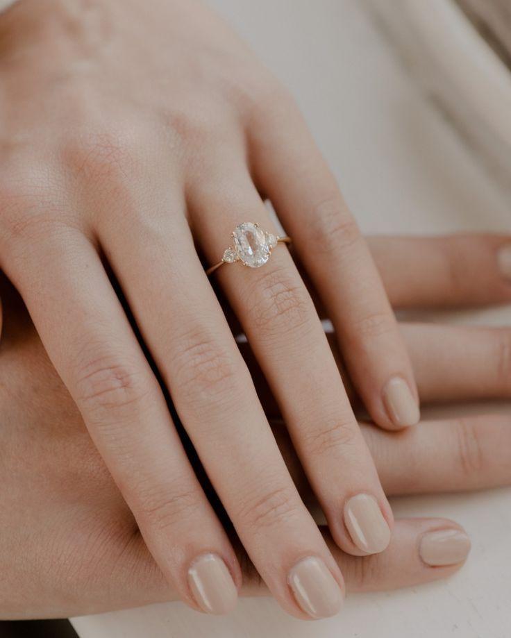 Engagement Rings : Evorden Adah Ring – Oval White Sapphire Engagement Ring #enga…