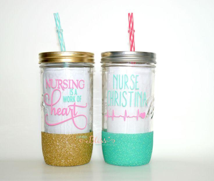 Nurse Mason Jar, Nurse me, Nurse Tumbler, Nurse Cup, Custom tumbler, Mason jar tumbler, BPA Free Straw, Glitter dipped cup, Glass Mason Jat by DrinkBliss on Etsy https://www.etsy.com/listing/243075063/nurse-mason-jar-nurse-me-nurse-tumbler