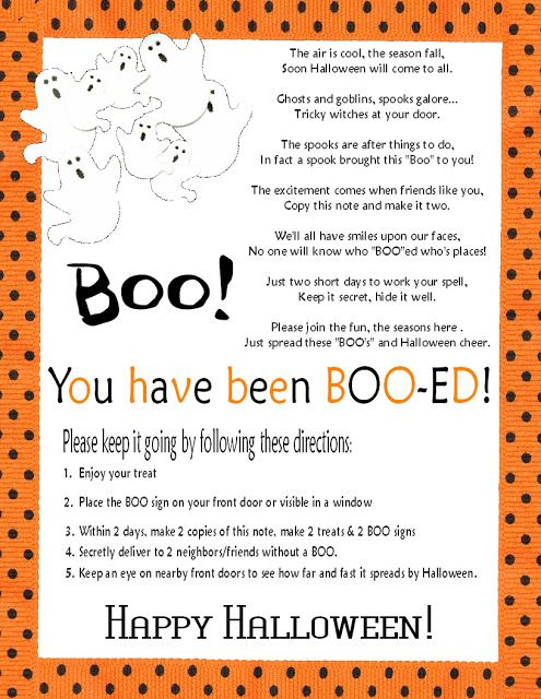 """You've been Boo-ed"" poem and direction printables.        Been Booed PDF Printable click here     Have fun and Happy Halloween!    If y..."