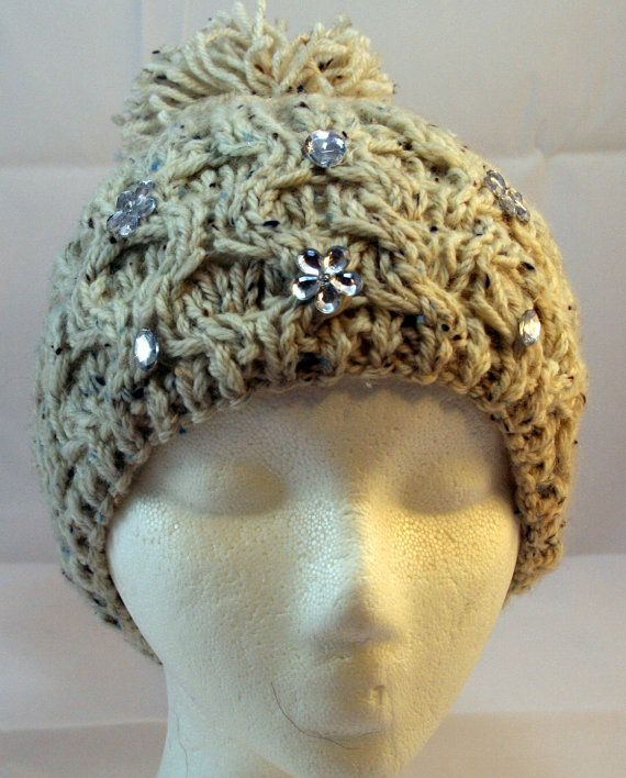 hand knitted hat with rhinestones and tweed by WoollyLoveHome