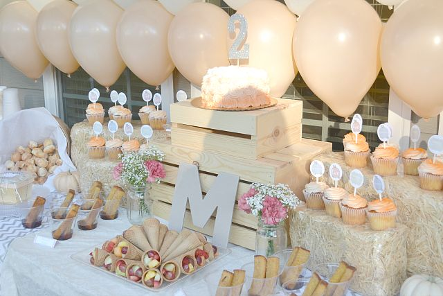 Project Nursery - Peachy Pumpkin Birthday Party Food Table