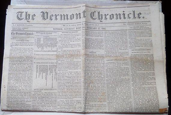 Civil War Vermont Chronicle Newspaper February 27 by plantdeva