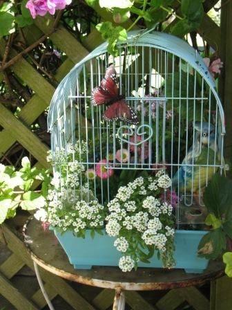 blue bird cage w/butterfly and flowers spilling out!