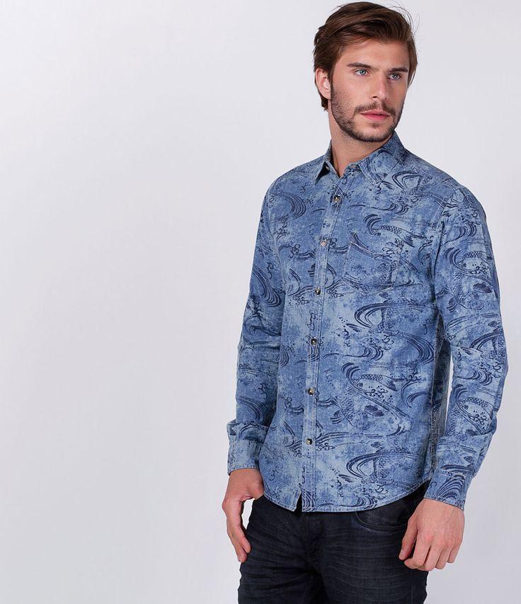 Camisa masculina    Manga longa    Efeito marmorizado    Estampada    Marca: Blue Steel    Tecido: jeans    Composição: 100% algodão    Modelo veste tamanho: M             COLEÇÃO INVERNO 2016             Veja outras opções de    camisas masculinas.