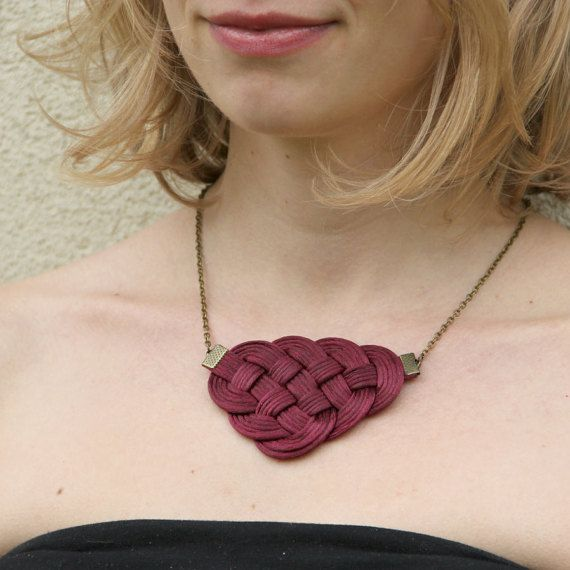 Burgundy red knot satin rope statement necklace by SophiesKnotShop