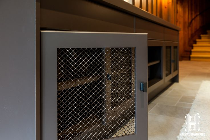 Decorative wire-mesh #custom #cabinetry #woodworking #toronto #hayswoodworking #basement