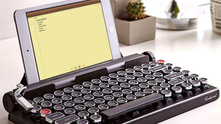Inspired by the vintage typewriter while enjoying modern technology, this Qwerkywriter Wireless Typewriter Keyboard will give you just that.