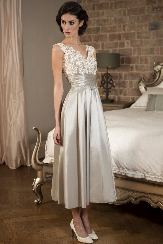d054ff251f Vintage V Neck Tea Length Silver Occasion Dress with Pleated Cummerband 2018