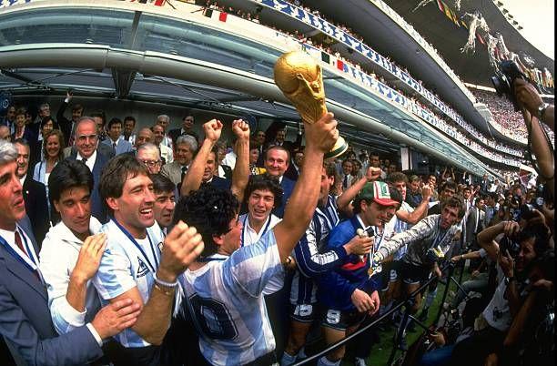 Diego Maradona Of Argentina Holds The World Cup Trophy Aloft After In 2020 Diego Maradona World Cup Trophy World Cup